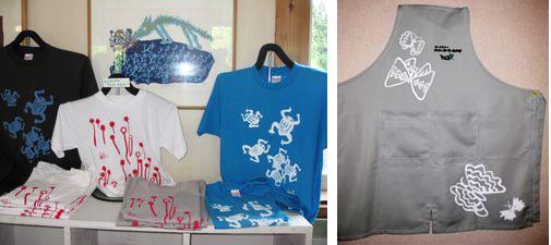ショップスタッフのエプロン、販売用Tシャツ
