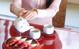温泉とお茶お菓子
